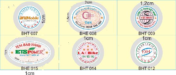 Kích thước tem bảo hành