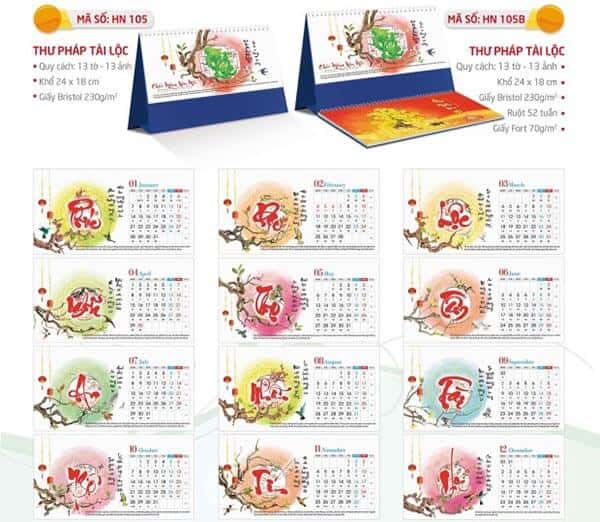 in lịch bàn giá rẻ tại Đà Nẵng